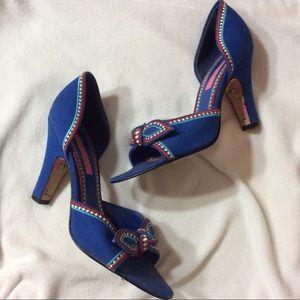 Betsy Johnson Primary Color Peep Toe Bow Heels